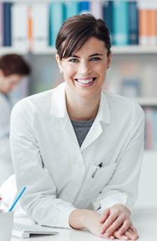 Woman in a pharmacy technician role
